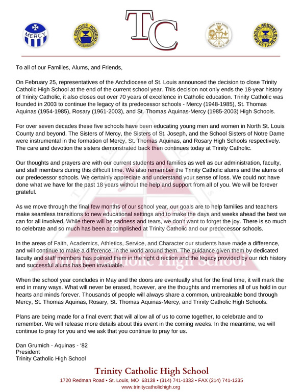 TCHS Closing Letter